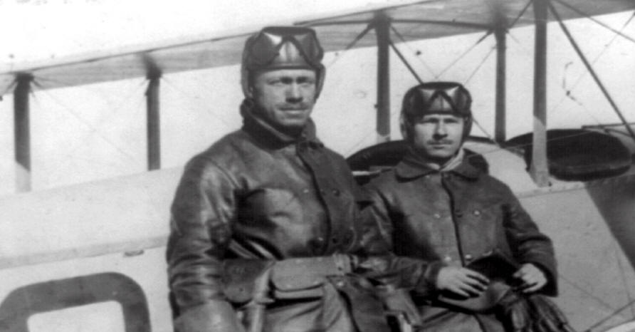 Lieutenants Herbert A. Dargue (left) Edgar S. Gorrell stand alongside an airplane at the Mexican front during the expedition into Mexico. (Library of Congress)
